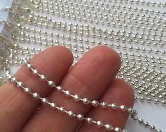 "12 Silver Plated Ball (2.4mm) Chain Necklaces 51cm (20 1/8"")"