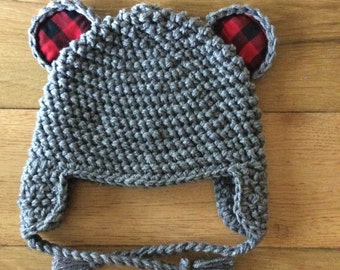 Bear hat with plaid ears