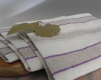 Linen Dish Towels Striped Linen Towel Organic Hand Towels Linen Tea Towels Natural Flax Towels Natural Dish Towels Kitchen Towels Gift Idea