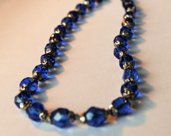 Blue Necklace // Art Deco Blue Faceted Bead Necklace // Blue and Silver Vintage Choker // String of Beads // 1930s