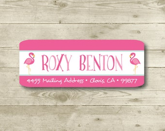 Flamingo, Hot Pink, Pink, Teal, Return Address Label, Personalized, MATTE, Beach, All Occasions