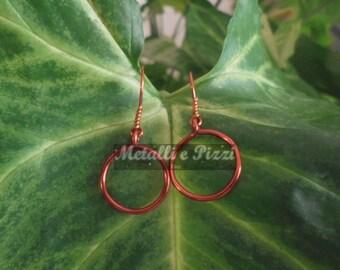 Circle shaped copper earrings