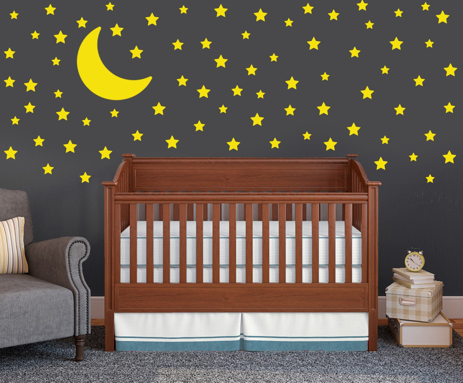 moon and stars wall decal set childrens wall decals 75. Black Bedroom Furniture Sets. Home Design Ideas