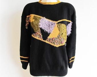 80s • Vintage • Jumper • Women's Jumper • Vintage Women's Sweater • Women's Black Jumper • Preppy Jumper • Preppy Sweater • Vintage Pullover