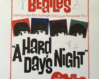 The Beatles A Hard Days Night movie poster 11 x 17 Beatles Posters Beatles Poster