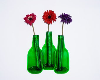 Glass Vase Recycled Bottle Vase Triple Flower Vase Eco Gift, Free Postage to UK