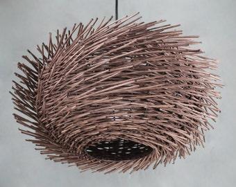 Hand-Woven Brown Rattan Wavy Shaped Bird Nest Pendant Lights-Ceiling Lighting-Pendant Lighting-Chandelier-Decor Lighting-Bar Lamp-Room Lamp