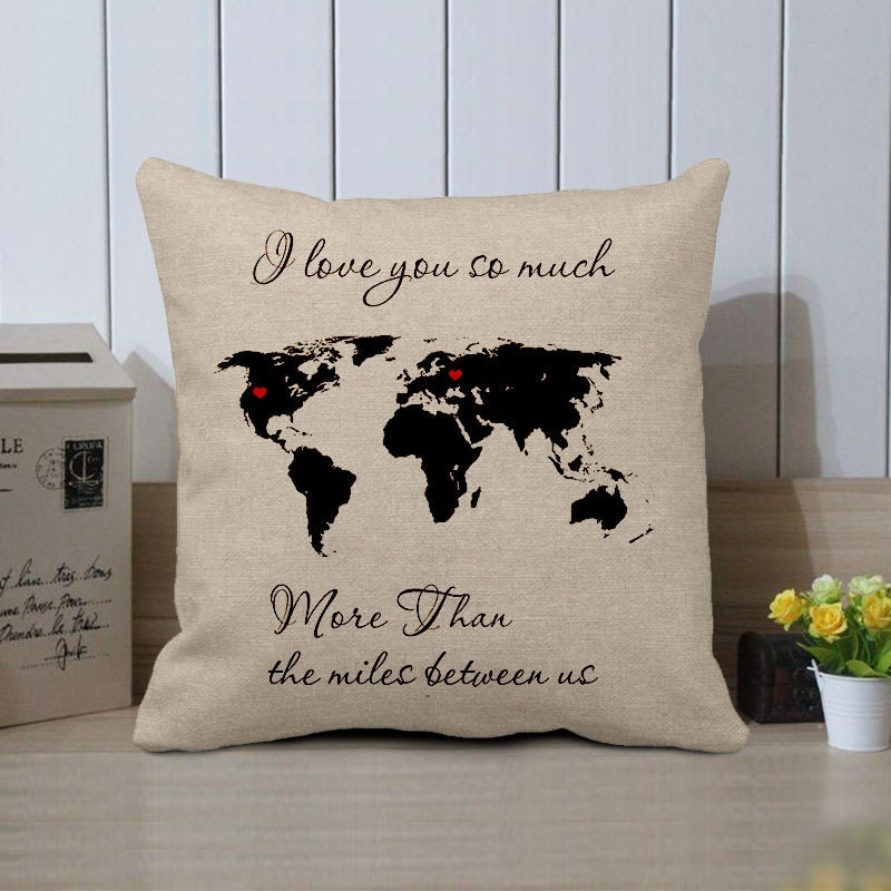 Custom World Map Pillow Cover I Love You So Much More Than - Us map pillow
