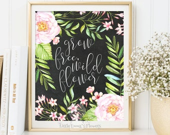Inspirational Lettering Floral Painting Grow free, wildflower nursery decor Motivational quote art Positive Art Kids Wall Art Quote 3-74