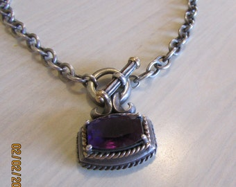 Sterling Silver with Gold Accent Amethyst Toggle Necklace