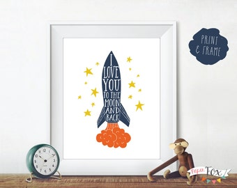 Nursery Wall Art / Nursery Decor / Quote Print / Art for Boys / I Love You to the Moon / Art for Kids Room / Printable Instant Download