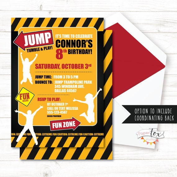 Trampoline Party Invitations: Trampoline Birthday Invitations / Trampoline Party Invitation