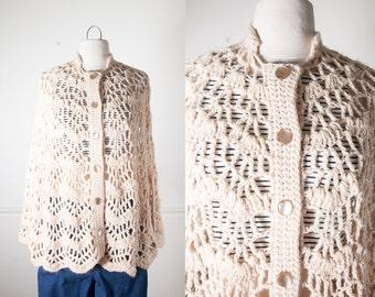 Crochet Sweater Cape, Bohemian Clothing, 70s Cape, 70s Poncho, Crochet Cape, Sweater Coat, Retro 70s Jacket, Hippie Cape, Open Knit Sweater