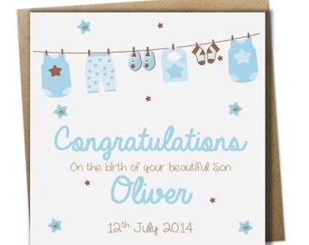 Personalised New Baby Boy Card ~ Congratulations baby boy card.