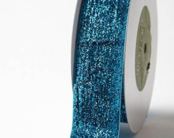 "May Arts Turquoise 1.5"" Metalic Velvet Ribbon. Crafting Supplies, Decorative, Gift Wrapping, Upholstery."