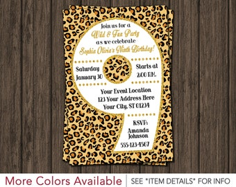 Cheetah 9th Birthday Invitation - Cheetah Ninth Birthday Invitations