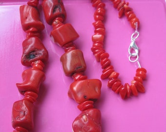 Necklace long red coral gemstone retro collection