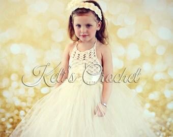Tutu Dress and Flower Headband,Tutu Dress and Headband,Crochet Tutu Dress,Flower Girl Dress,Christening Dress,Prom Dress,Kids Wedding Dress