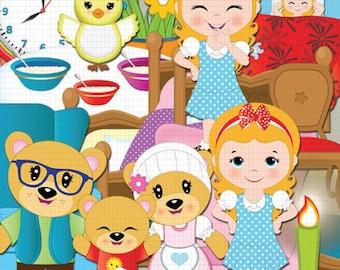 Goldilocks clipart, Three bears clipart, Story, Fairytale clipart