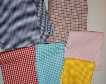 Gingham Check Collection - Assorted Lot of Gingham Check Cotton Fabric Pieces