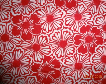 "1 Yard Red & White Floral Print Cotton Fabric - 43"" wide"