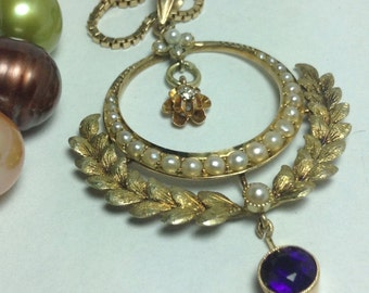 Rare Victorian Seed Pearl Diamond Amethyst Pendant w/ Chain