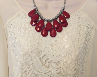 Red Bubble Bib Beaded Chandelier Statement Necklace Silver Chain