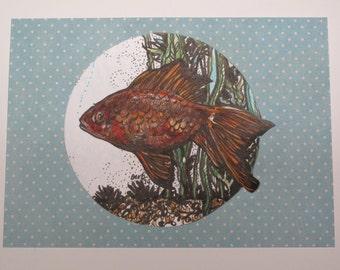 Original Miniature Goldfish Art
