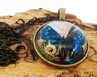 Steampunk Style Blue Butterfly Pendant