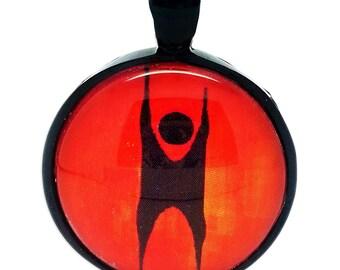 Happy Dancing Humanist, Fire Orange Pendant
