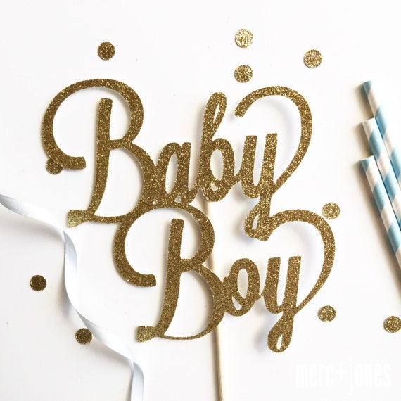 Baby Boy or Baby Girl  - Baby Shower Cake Topper | Glitter Cake Topper