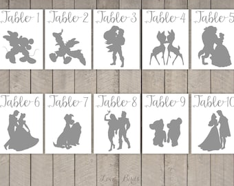 Disney Couple Cards Silhouette Calligraphy (tabel numbers cards wedding) - set of 36 - Digital file