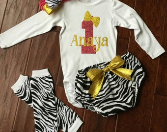 1ST Birthday Zebra Print Outfit, First Birthday Outfit