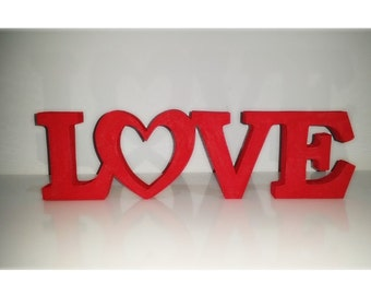 Wood Word Sign Love Decorative Wooden Word Freestanding Word Sign