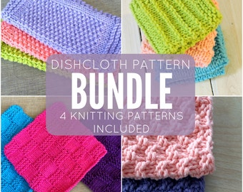 Knitted Dishcloth Pattern Bundle, 4 Knitted Dishcloth Patterns: Seed Stitch Dishcloth, Farmhouse, Basketweave, & Textured included