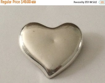 50% OFF CLEARANCE Sterling Silver Large Heart Brooch / Pendant