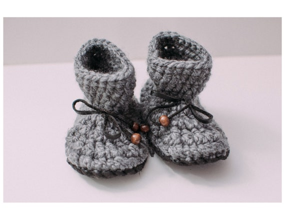 Knitting Patterns For Slippers With Leather Soles : Items similar to Grey MLE nonslip Mocs, Crochet Slipper Boot, Knit Baby Mocca...