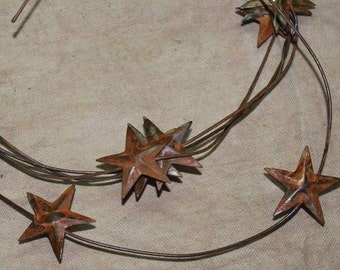 "Rusty Tin 1-1/4"" STAR GARLAND - 6 feet - stars have dimensional top ......  Primitive craft supply"