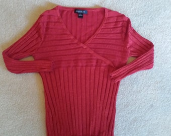 August Silk V Neck Sweater Top Size Large