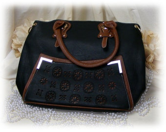 BLACK HOBO PURSE with brown trim and handles