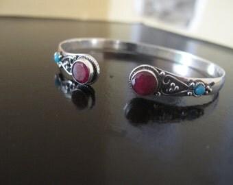 Ruby Silver plated Bracelet, Tribal Bracelet, Ethnic Bracelet, Tribal silver plated bracelet, Bangle