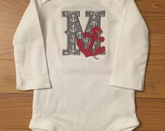Monogrammed anchor personalized onesie or shirt