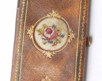 Vintage Embroidered Leather Needle Wallet