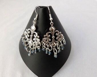 Bridal Earrings, Indian Earrings, Dangle Earrings, Gift for her, Bridesmaid Earrings, Wedding Earrings, Silver Chandelier Earrings, Gift