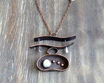 Pearls copper necklace,  symbolic jewelry, statement pendant