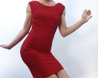 80s vintage HERVE LEGER dress red bodycon dress french label