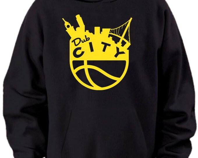 Golden State Warriors Retro Yellow Dub City Bay Bridge Logo Hoodie Sweater Black