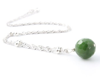 Canadian Nephrite Jade Faceted Bead Necklace