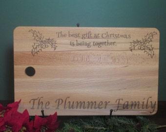 Customized Christmas cutting board, Personalized Christmas last name board, personalized xmas cutting board