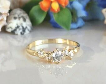 20% off-SALE!!! Clear Quartz Ring - April Birthstone - Prong Ring - Gold Ring - Gemstone Ring - Birthstone Ring - Delicate Ring - Tiny Ring